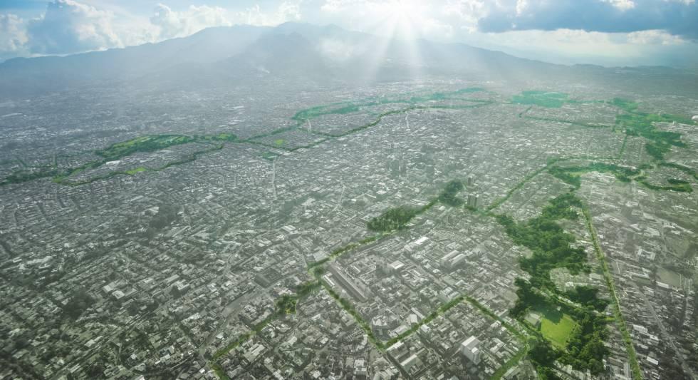 Vista aérea de San José con el trazado del proyecto de rutas naturbanas.