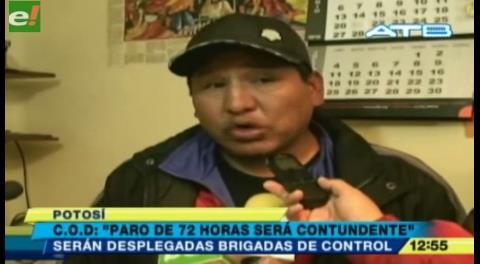 Potosí y Oruro acatarán el paro de la COB