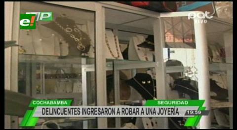 Delincuentes atracan una joyería en Cochabamba
