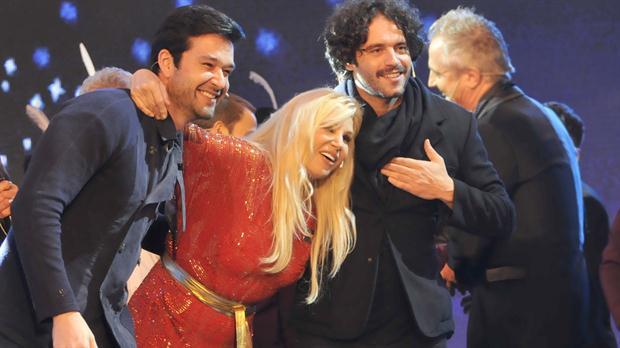 Susana Giménez junto a Guilherme Winter y Sergio Marone, protagonistas de Moisés y los Diez Mandamientos