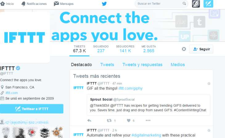 Imagen: pestaña Destacados del perfil de IFTTT en Twitter