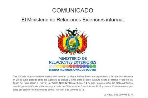 Comunicado del Ministerio de Relaciones Exteriores sobre el caso Silala