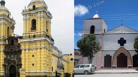 La iglesia de San Francisco de Lima (der) y la iglesia de Uyuni (izq).