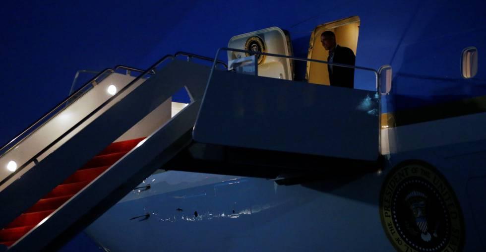 El presidente Barack Obama, a su llegada a los Estados Unidos tras su viaje a España.