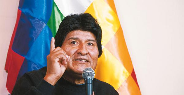El presidente Evo Morales durante la conferencia de prensa en la residencia presidencial de San Jorge
