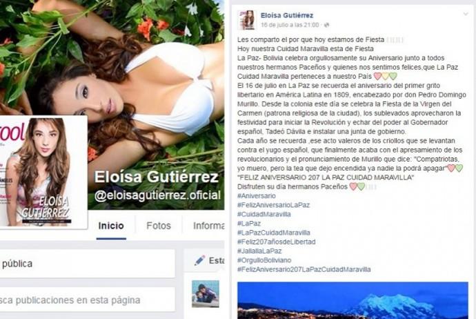 Esta es la primera publicación que hizo Eloísa Gutiérrez. Foto: Captura de pantalla
