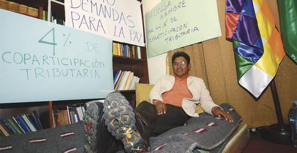 El gobernador de La Paz, Félix Patzi, cumplió ayer su segundo día de huelga para pedir más recursos