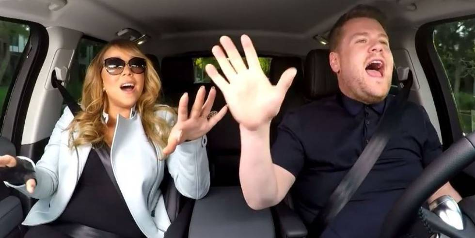 James Corden con Mariah Carey.