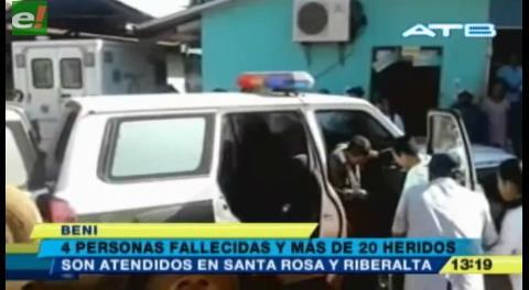 4 muertos y más de 20 heridos deja un accidente en la ruta Cobija – La Paz