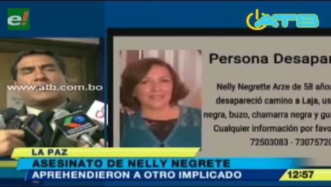 Aprehenden a otro implicado en la muerte de Nelly Negrete
