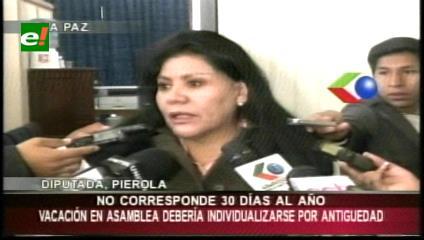 """Diputada Piérola: """"Vacación en la ALP debería individualizarse por antiguedad"""""""