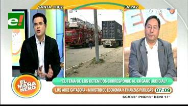 Ministro Arce dice que no está en sus manos resolver la liberación de dirigentes del transporte pesado