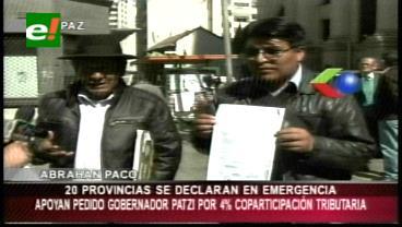 Las 20 provincias de La Paz apoyan al gobernador Patzi, piden el 4% de coparticipación tributaria