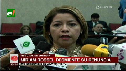 Miriam Rossel desmiente su renuncia a la Presidencia del TDJ