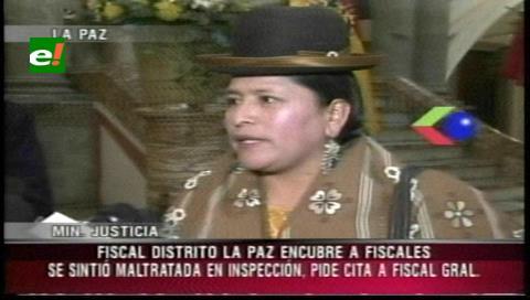 Ministra de Justicia acusa al fiscal del distrito de La Paz de encubrir irregularidades