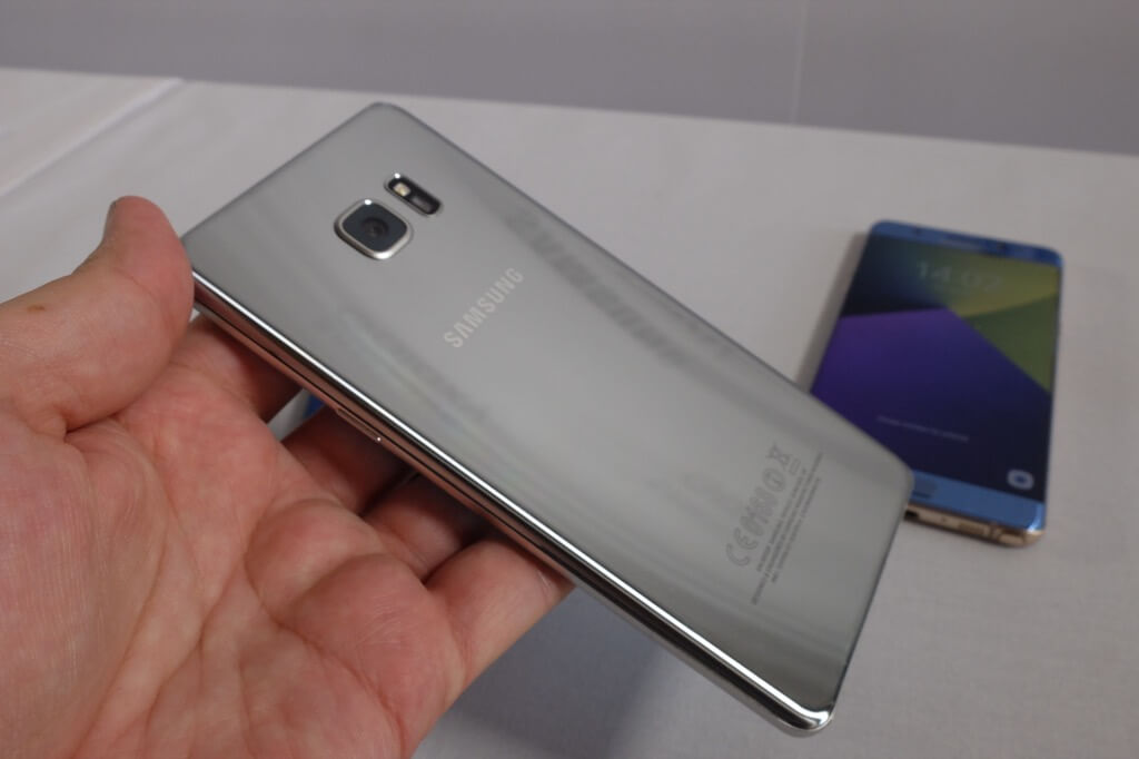 Samsung Galaxy Note 7 plateado trasera