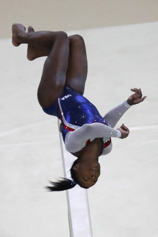 US gymnast Simone Biles competes in the beam event of the women