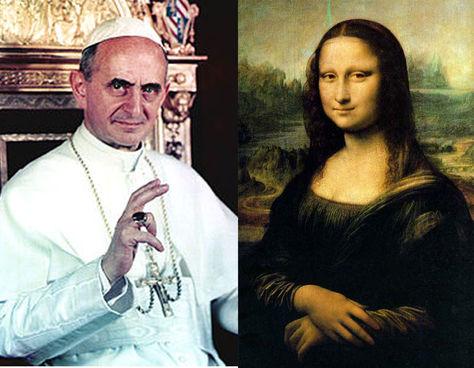 El papa Paulo VI y la imagen de Mona Lisa.