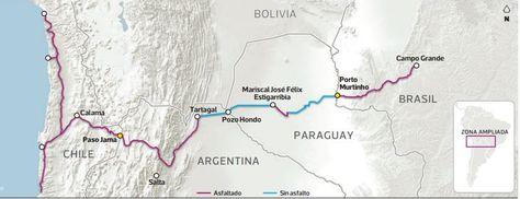 El proyecto de corredor bioceánico que impulsan Chile, Argentina, Paraguay y Brasil.
