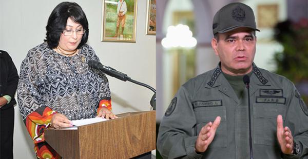 Los ministros de Defensa de Nicaragua, Martha Ruiz Sevilla, y de Venezuela, Vladimir Padrino López