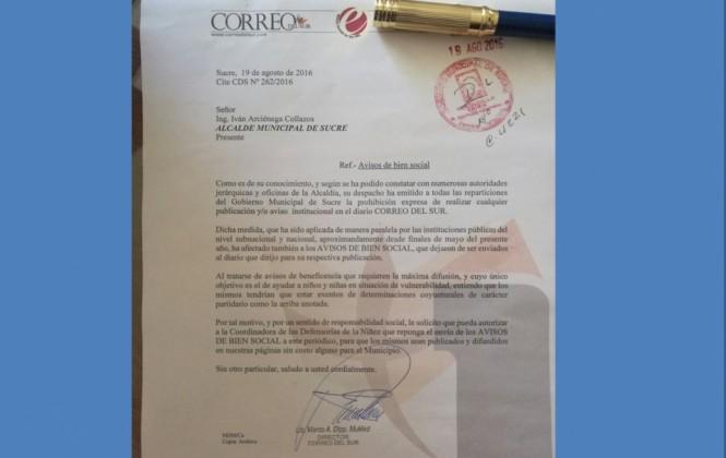 Correo del Sur denuncia que el Alcalde de Sucre instruye quitar toda la publicidad a ese medio