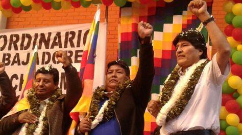 El presidente Evo Morales durante el acto de juramento como dirigente máximo de la Federación del Trópico Cochabamba. Foto: Fernando Cartagena