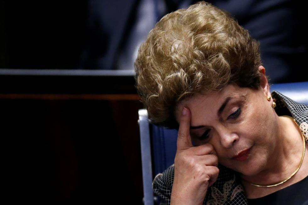 La expresidenta de Brasil, Dilma Rousseff, el lunes en el Senado
