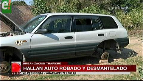 Encuentran auto robado y desmantelado