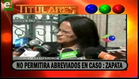 Titulares de TV: Ministra de Transparencia anunció que no permitirá abreviados en el caso Zapata