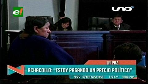 Ex ministra Achacollo va a Palmasola y acusa a aliados indígenas