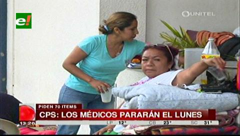Médicos de la Caja Petrolera de Salud pararán este lunes exigiendo 70 ítems