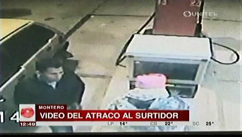 Cámaras de seguridad muestran el atraco a un surtidor en Montero