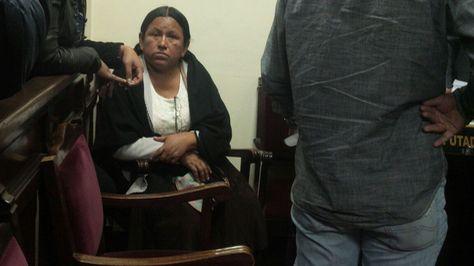 La exministra Nemesia Achacollo en la audiencia judicial que rechazó su pedido de libertad