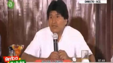 Evo Morales en conferencia de prensa en Santa Cruz