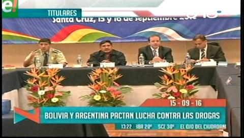 Titulares de TV: Bolivia y Argentina firmaron un convenio de lucha contra el narcotráfico