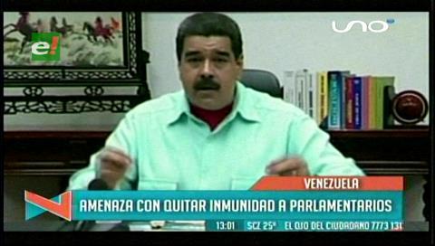 Venezuela: Maduro amenaza con retirar la inmunidad los parlamentarios
