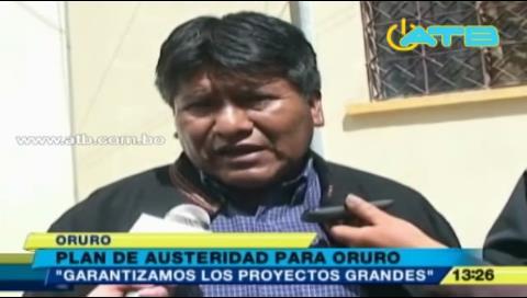 Gobernador de Oruro prepara plan de austeridad
