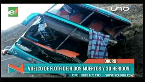 Accidente de bus deja 2 muertos y 26 heridos cerca de Challapata