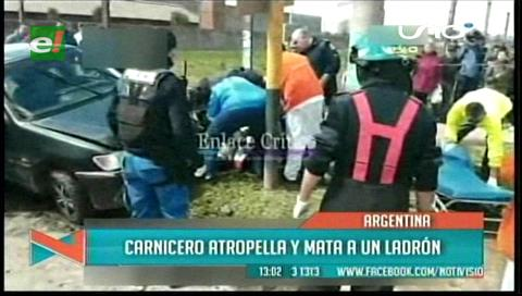 Argentina: Un carnicero persigue al delincuente que lo quiso robar, lo atropelló y lo mató