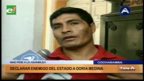 Cochabamba: El MAS pide a la ALP declarar enemigo del Estado a Doria Medina