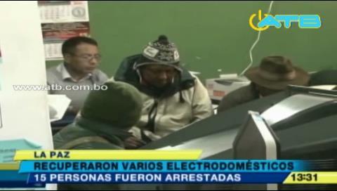 Detienen a 15 personas por robar electrodomésticos en El Alto