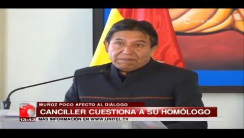 Choquehuanca afirma que Muñoz muestra poco afecto al diálogo