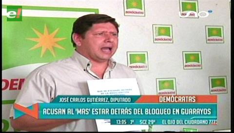 Diputado Gutiérrez acusa al MAS de estar detrás de los bloqueos en Guarayos