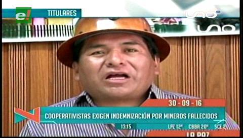 Titulares de TV: Cooperativistas exigen al Gobierno indemnización por los mineros fallecidos