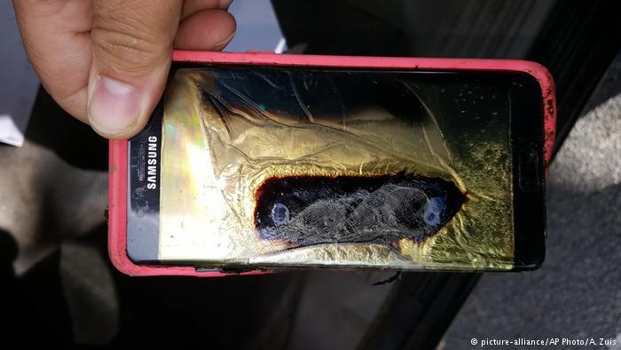 Samsung Note 7 tras encenderse.