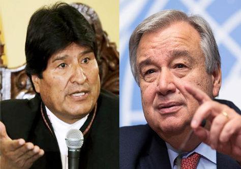 El presidente Evo Morales y el nuevo secretario general de la ONU, Antonio Guterres.