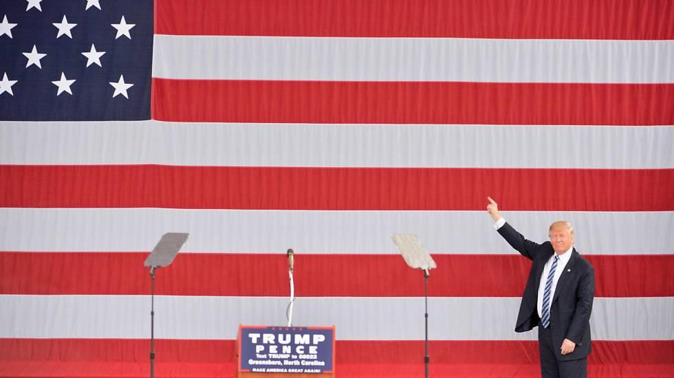 El candidato republicano en Greensboro, Carolina del Norte.