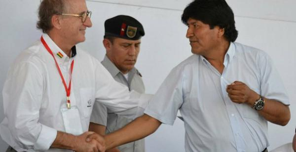 Evo Morales y Antonio Brufau