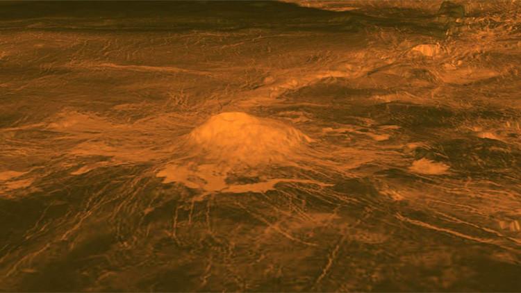 Flujos de lava detectados alrededor del volcán Idunn Mons, Venus.