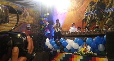 El presidente Evo Morales participa del XXVI aniversario de la Federación Departamental de Mujeres Bartolina Sisa en Cochabamba. Foto: @Canal_BoliviaTV